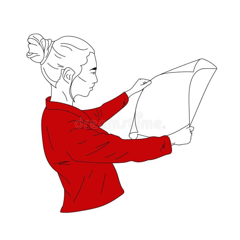 Une femme d'affaires dans une veste rouge regarde le document, dessins, croquis photographie stock