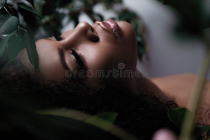 Une femme d'afro-américain avec le maquillage frais sur son visage Feuillage et beauté photos libres de droits
