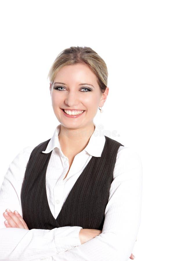 Une femme d'une chevelure blonde de sourire attirante d'affaires photographie stock