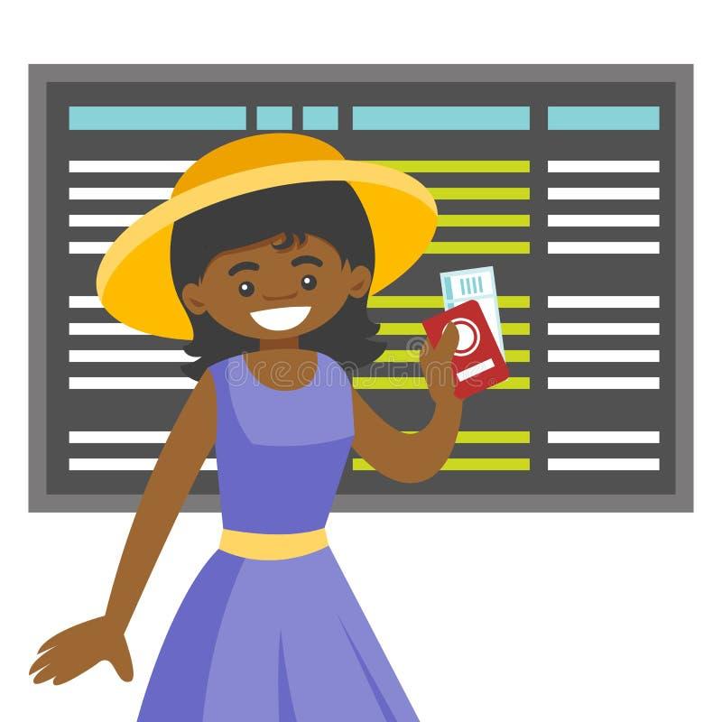 Une femme de couleur avec un passeport dans l'aéroport illustration de vecteur