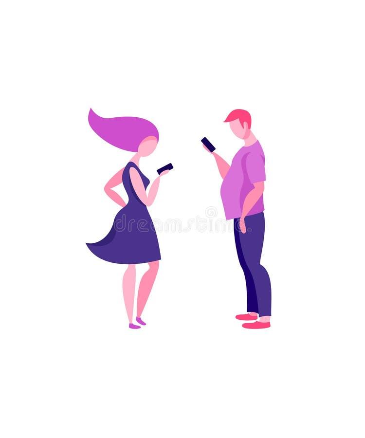 Une femme et un homme se tiennent dans le profil et regardent dans leurs téléphones Smartphones et technologies illustration de vecteur