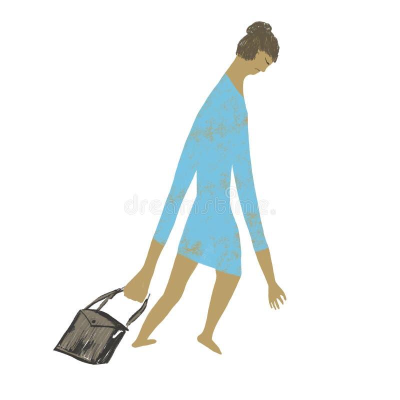 Une femme fatigu?e rentre ? la maison avec un sac illustration libre de droits