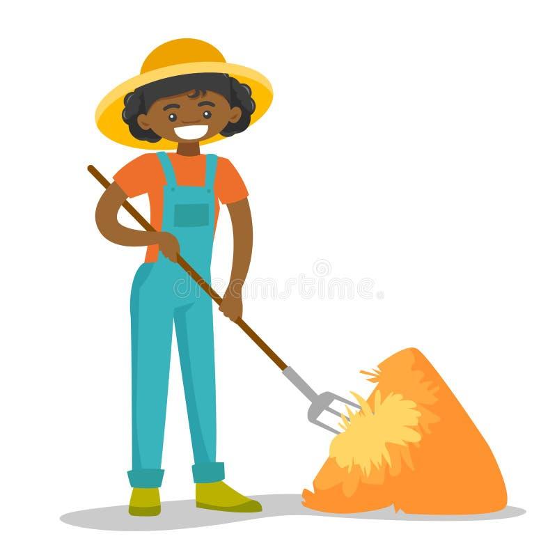 Une femme heureuse noire avec une fourche et une meule de foin illustration libre de droits