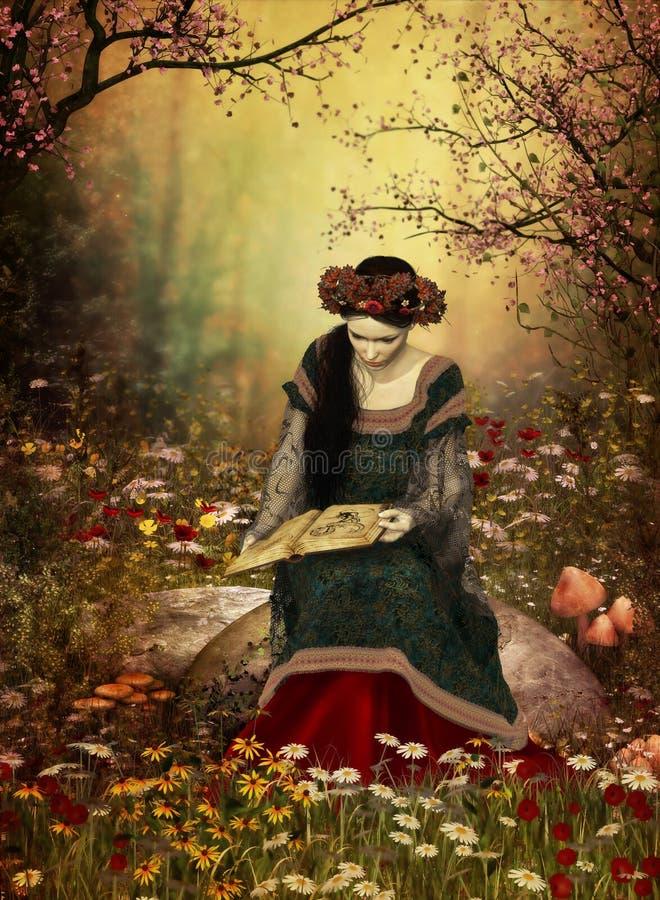 Une femme lisant un livre illustration de vecteur
