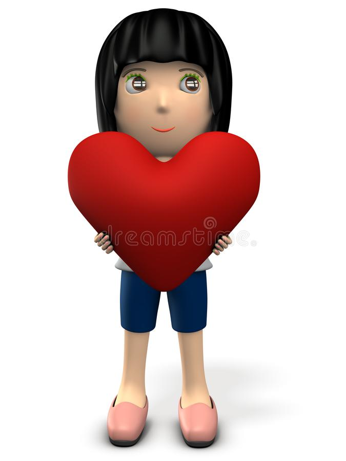Une femme mignonne tenant un grand coeur Elle est timide, ainsi elle regarde loin illustration de vecteur