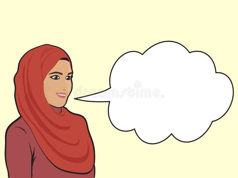 Une femme musulmane dans un radeau rouge illustration libre de droits