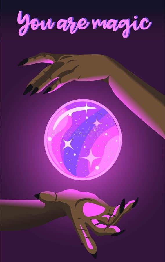 Une femme noire qui fait une boule de cristal brillante et magique pour flotter Poster avec texte, sorcière prédisant le futur illustration libre de droits