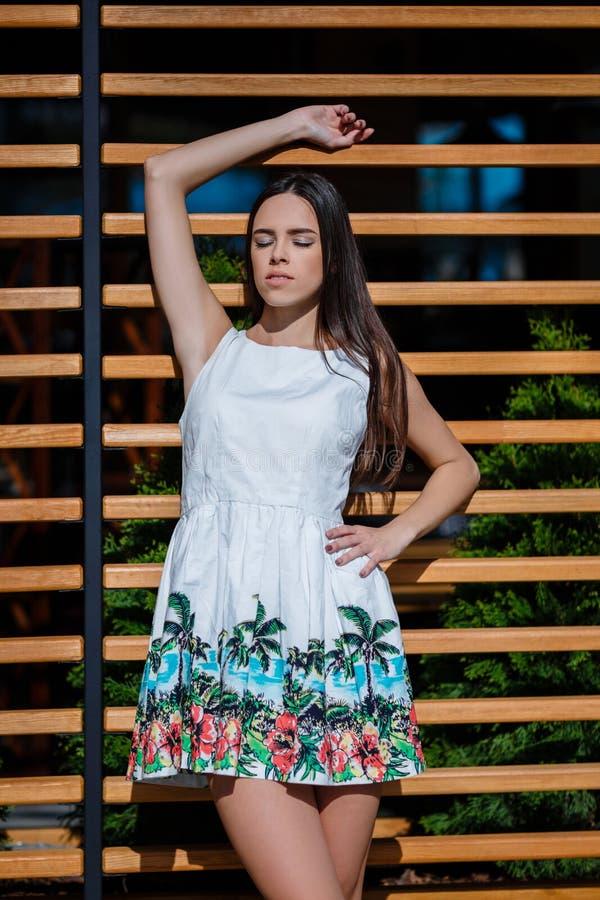 Une femme pose dans une robe sur une rue et sur un fond en bois La dame avec du charme avec les cheveux foncés apprécie un jour e photos libres de droits