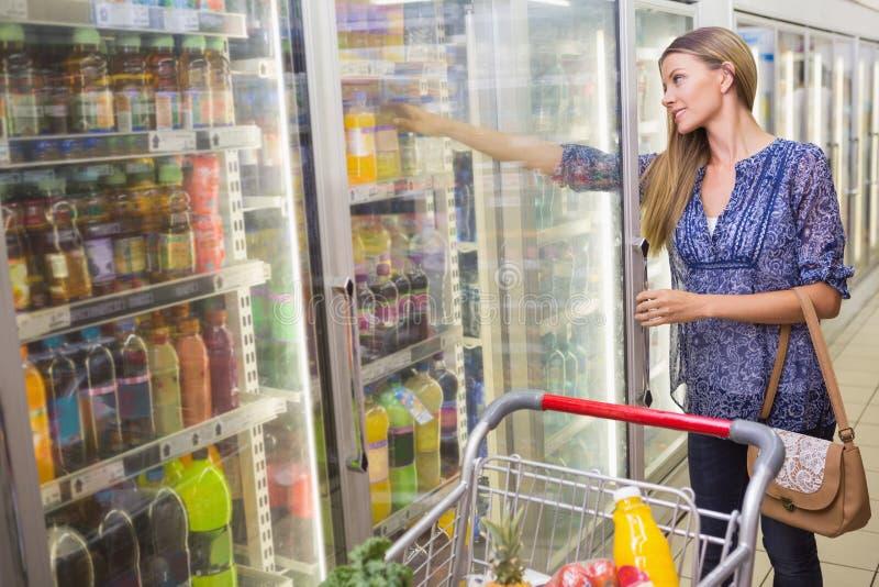Download Une Femme Prenant Une Bouteille Dans Le Bas-côté Congelé Image stock - Image du mémoire, achats: 56489735