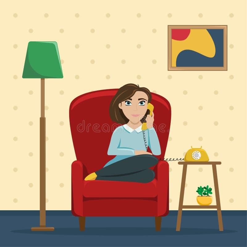 Une femme s'asseyant dans une chaise à la maison parlant au téléphone Conversations confortables avec un ami Illustration plate d illustration stock