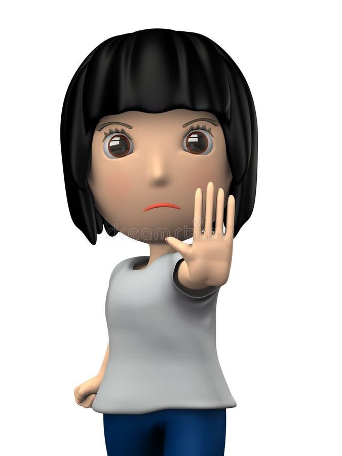 Une femme se levant avec ses mains  Elle rejette quelque chose illustration de vecteur