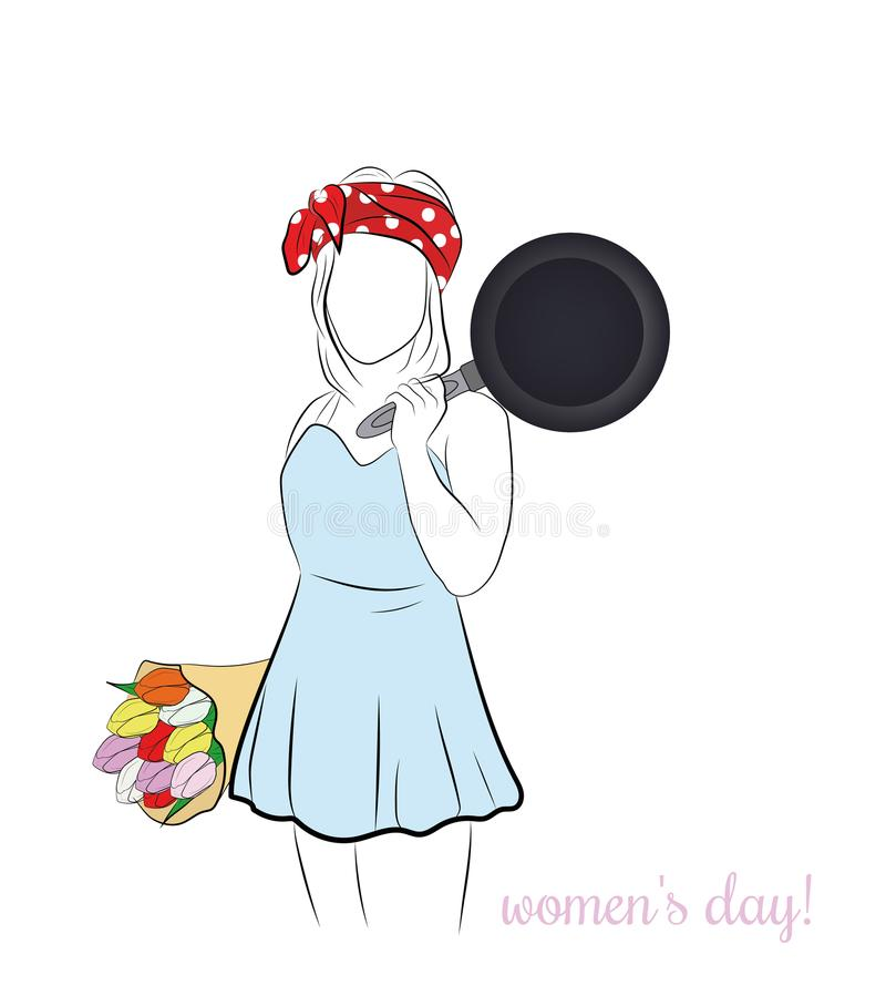 Une femme se tient avec une poêle et un bouquet des fleurs Jour du `s de femmes Illustration de vecteur illustration de vecteur