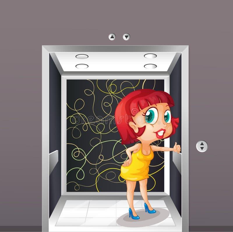 Une femme sexy à l'ascenseur illustration libre de droits
