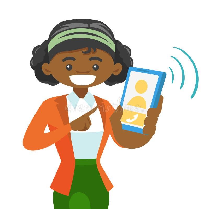 Une femme tenant un smartphone illustration de vecteur