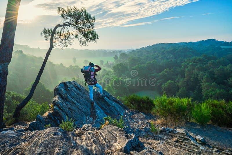 Une femme trimardant sur une traînée de montagne regarde en bas de la vallée photos stock