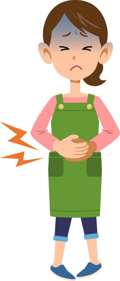 Une femme utilisant un abdomen de participation de tablier dû à la douleur abdominale illustration libre de droits