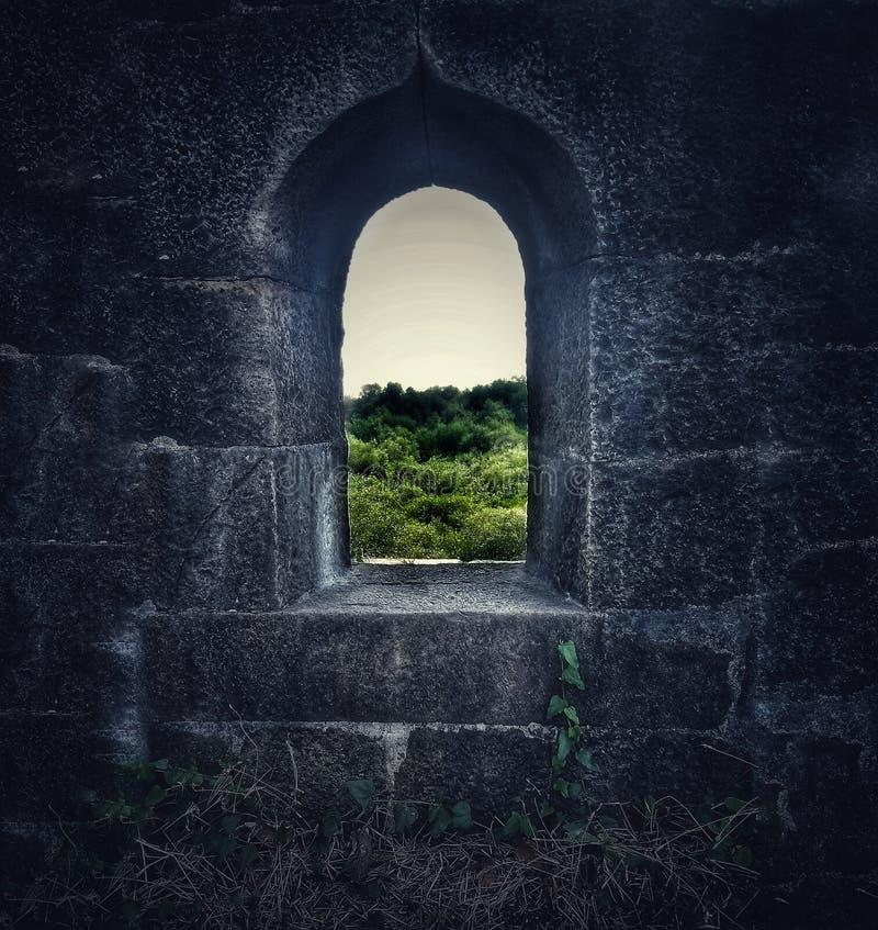 Une fenêtre dans le fort de Bassein dans l'Inde image stock