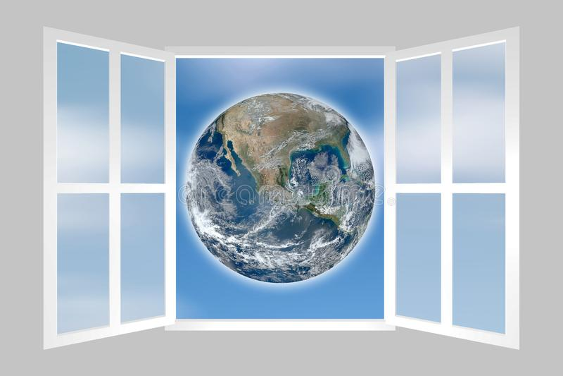 Une fenêtre sur le monde - comprenant des éléments meublés par la NASA image libre de droits