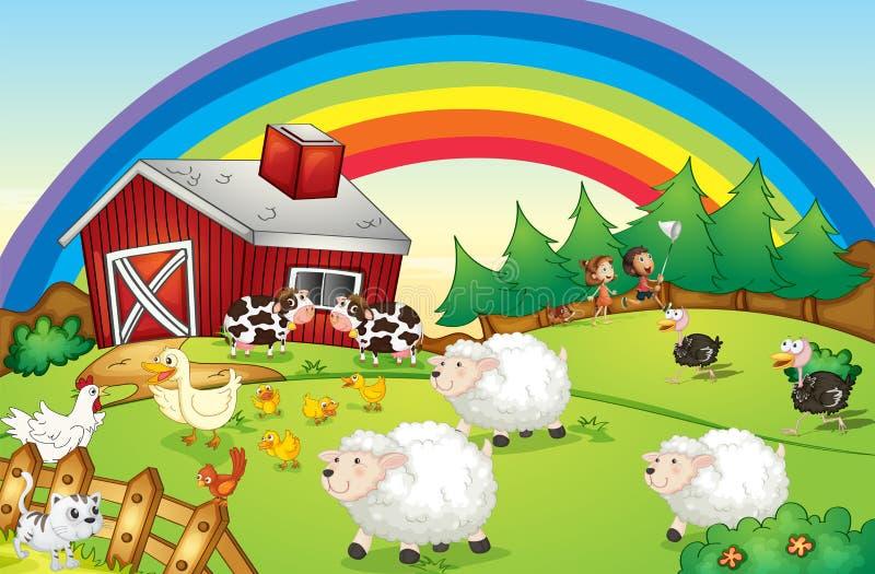 Une ferme avec beaucoup d'animaux et un arc-en-ciel dans le ciel illustration libre de droits