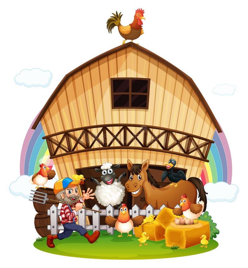 Une ferme avec des animaux de ferme illustration libre de droits