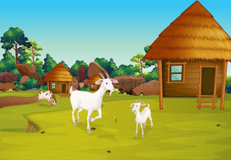 Une ferme avec des huttes de nipa illustration libre de droits
