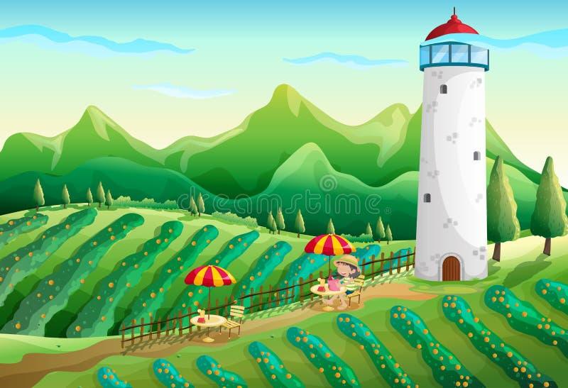 Une ferme avec une jeune fille appréciant l'ambiance illustration stock