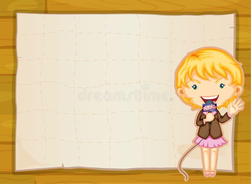 Une feuille de fille et de papier illustration de vecteur