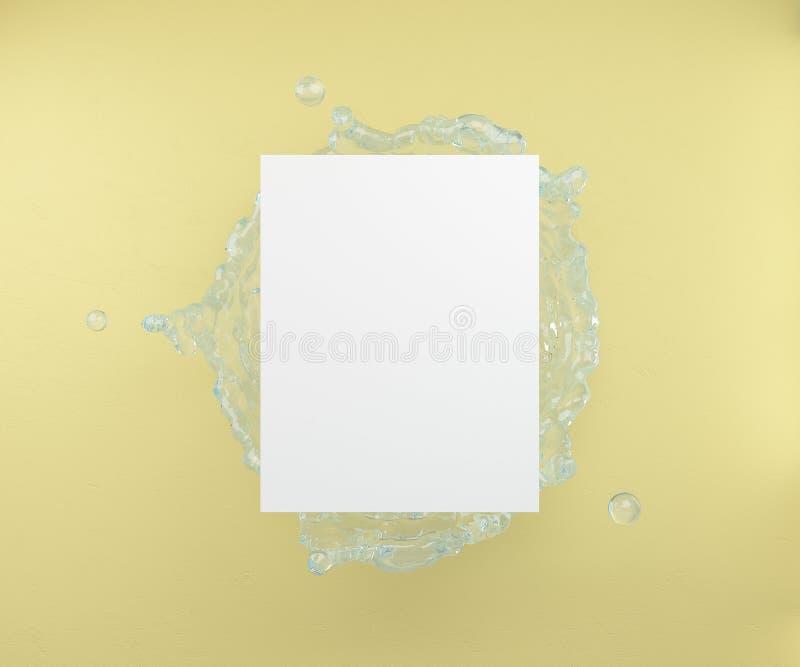 Une feuille vide sur un fond de l'eau éclabousse et un mur jaune rendu 3d illustration stock