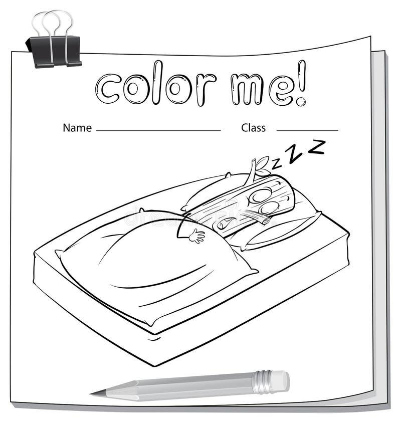Une fiche de travail avec un sommeil de rondin illustration stock