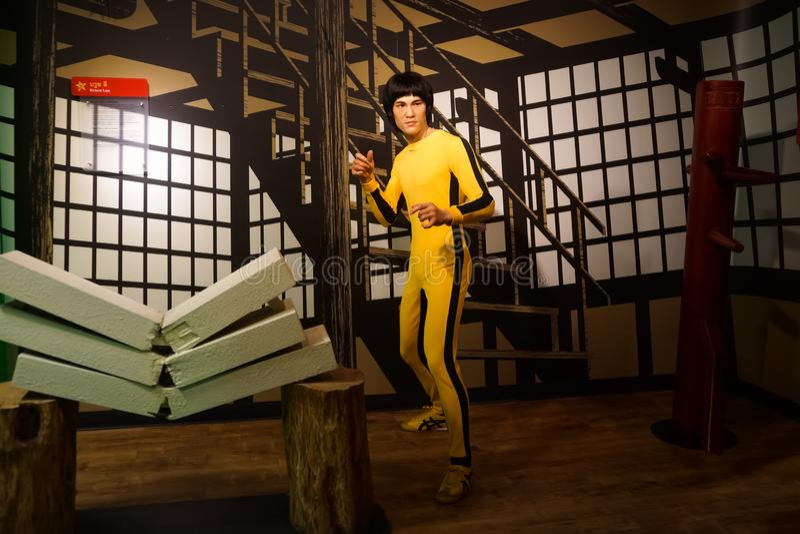 Une figure de cire de Bruce Lee au musée de cire de Madame Tussauds photos stock