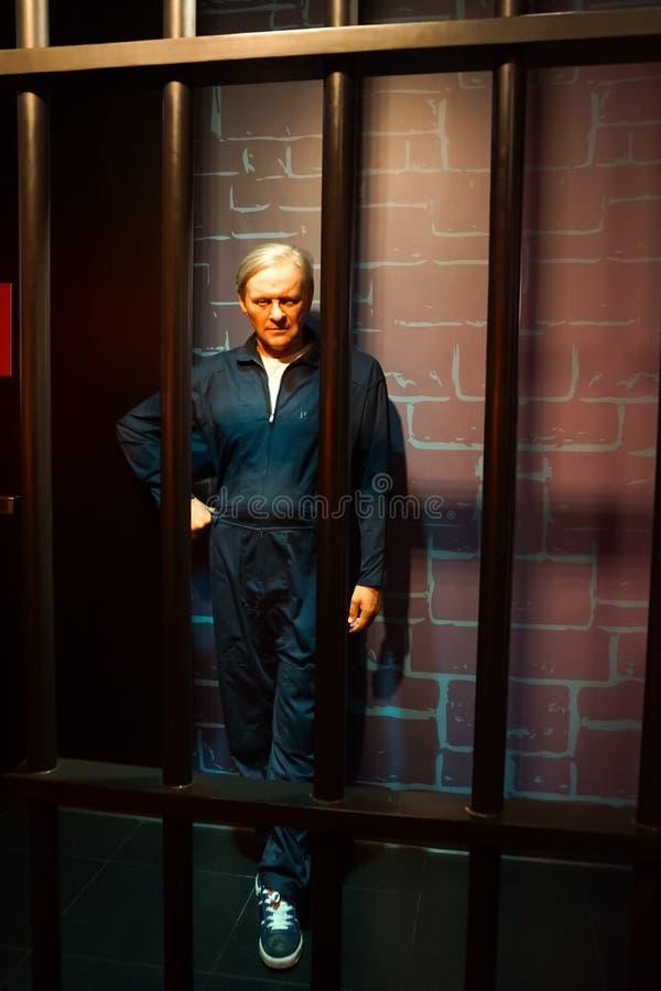 Une figure de cire d'Anthony Hopkins comme Hannibal Lecter au musée de cire de Madame Tussauds images libres de droits
