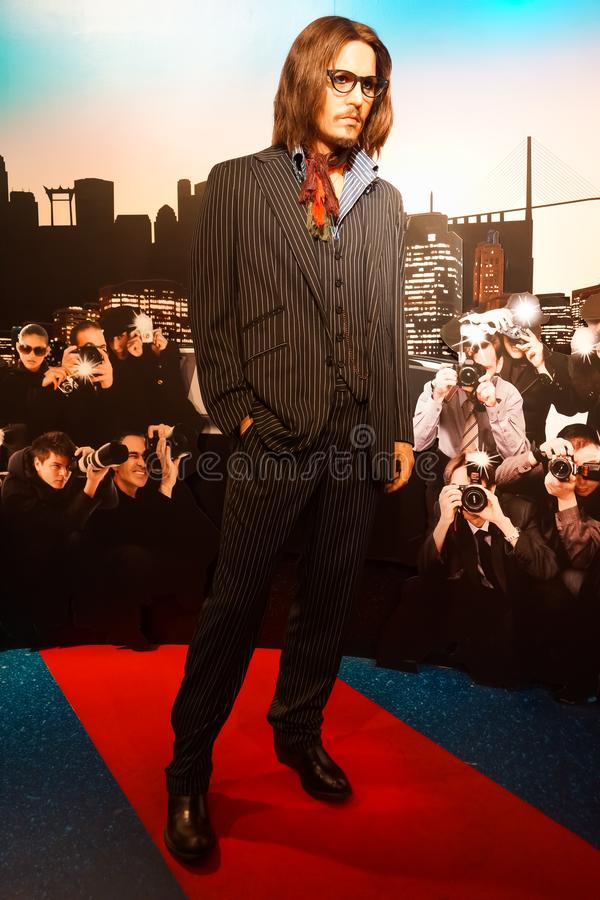 Une figure de cire de Johnny Depp au musée de cire de Madame Tussauds images stock