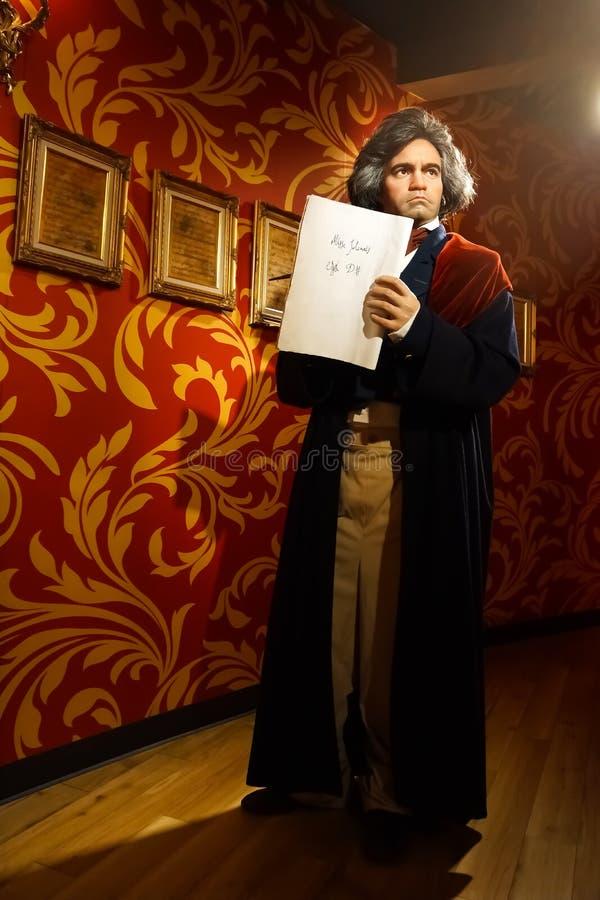 Une figure de cire de Ludwig van Beethoven au musée de cire de Madame Tussauds photos libres de droits