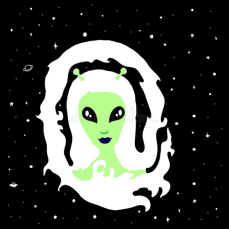 Une fille étrangère avec les longs cheveux blancs, antennes sur sa tête, lèvres bleues, grands yeux, illustration libre de droits