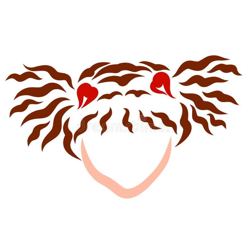 Une fille avec deux queues de cheval et coeurs bruns sur ses cheveux illustration libre de droits