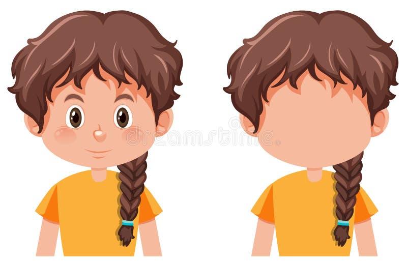 Une fille avec la coiffure de tresses illustration de vecteur