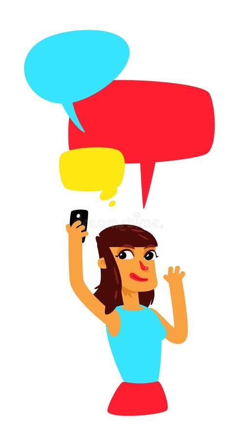 Une fille avec les bulles comiques fait selfie Vecteur La fille cause Illustration dans le style de bande dessinée L'illustration illustration stock