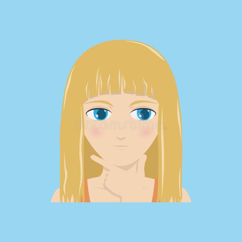 Une fille avec un visage songeur tient une main contre son menton Illustration de vecteur illustration libre de droits