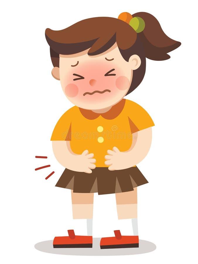 Une fille ayant le mal d'estomac illustration stock