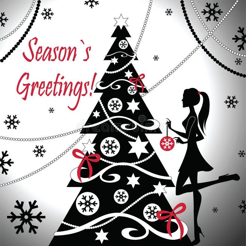 Une fille décore l'arbre de Noël illustration libre de droits