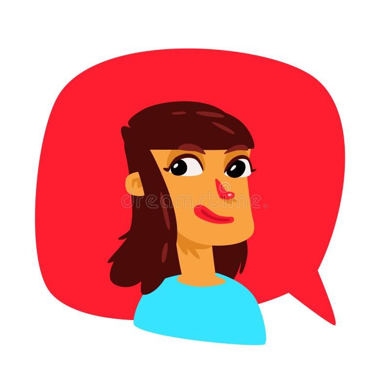 Une fille dans une bulle comique Vecteur Avatar d'une femme La fille cause Illustration dans le style de bande dessinée L'illustr illustration stock