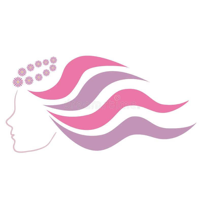 Une fille dans le profil avec de longs cheveux onduleux dans une guirlande des marguerites illustration de vecteur