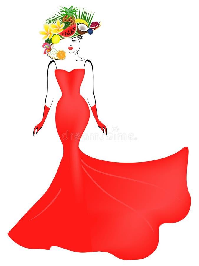 Une fille dans une longue robe rouge et un chapeau avec le fruit illustration de vecteur