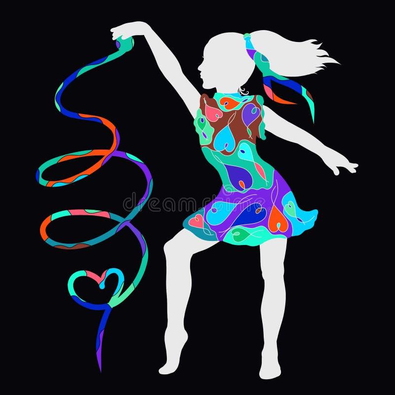 Une fille dans une robe avec un modèle des coeurs dansant avec un ruban formant un coeur illustration stock