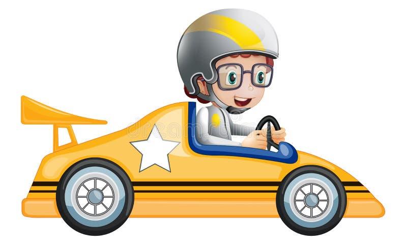 Une fille dans sa voiture de course jaune illustration libre de droits