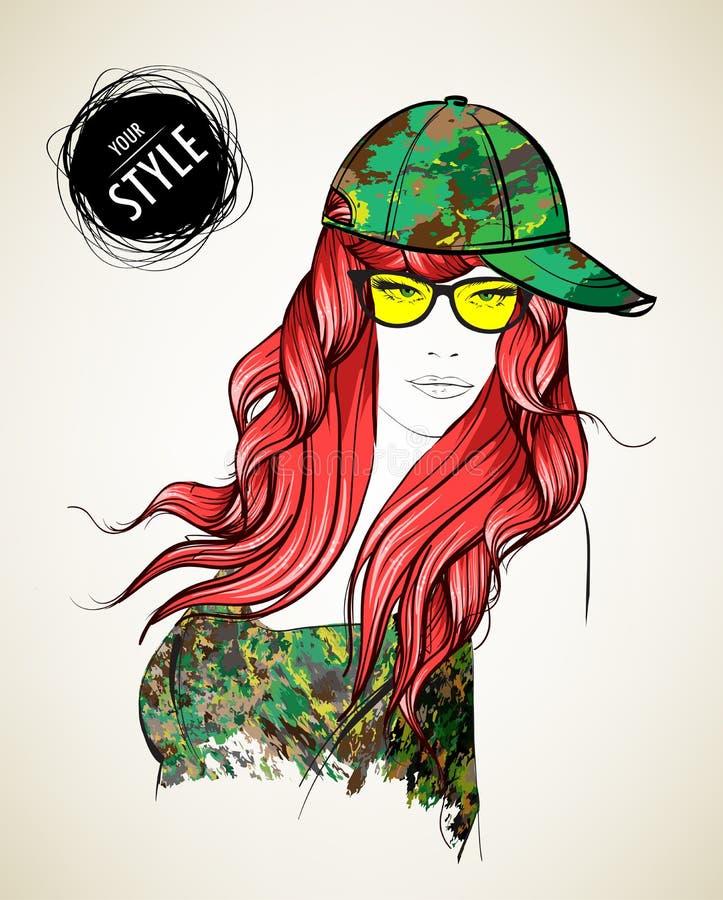 Une fille dans un camouflage illustration libre de droits