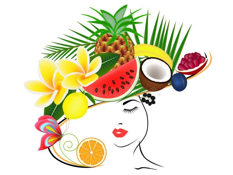 Une fille dans un chapeau avec l'été porte des fruits sur sa tête illustration de vecteur