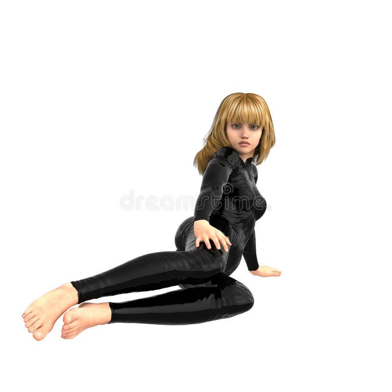Une fille de l'adolescence dans un costume superbe noir Demi mensonge devant l'appareil-photo illustration stock