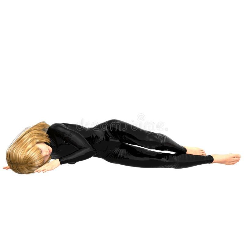 Une fille de l'adolescence dans un costume superbe noir Mensonge de son côté illustration libre de droits