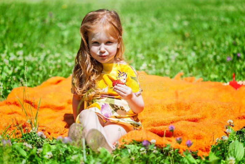 Une fille de sourire s'assied sur le pré photographie stock